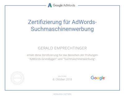 AdWords Suchmaschinenwerbung Zertifikat Gerald Emprechtinger
