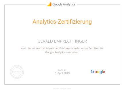Google Analytics Zertifikat Gerald Emprechtinger